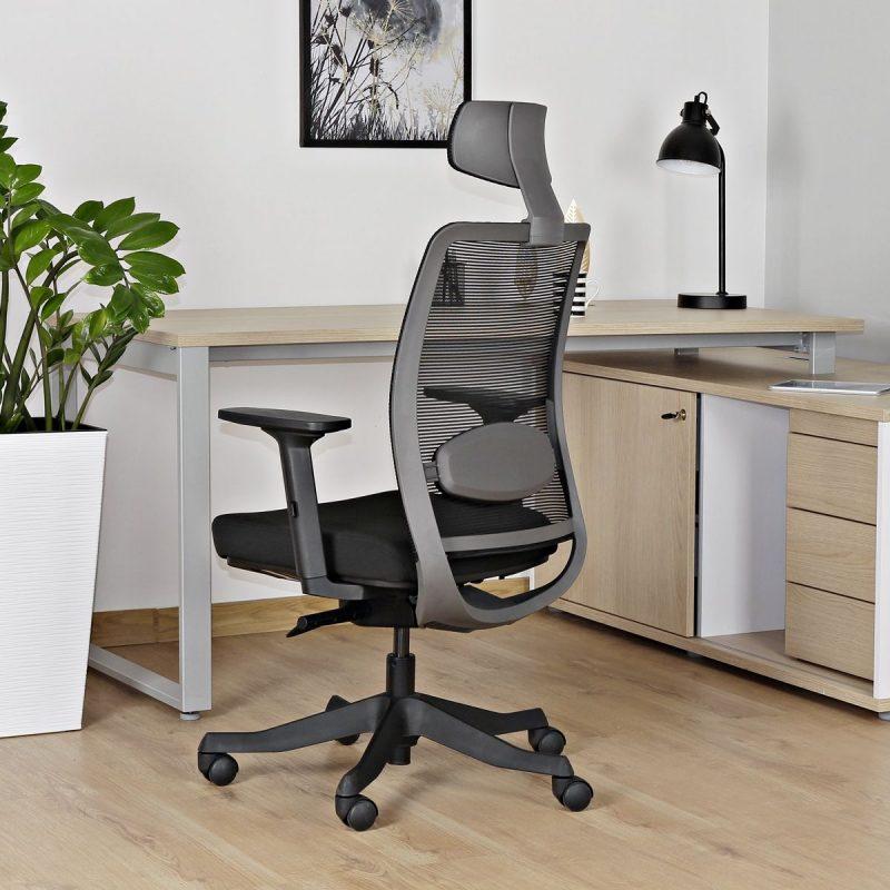 Fotel ergonomiczny Unique ANGGUN Czarna Siatka 1199-B do pracy biurowej