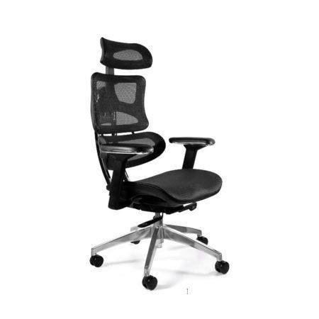 Fotel ergonomiczny Unique Ergotech Czarny Podstawa Chromowana CM-B137A EAN 5908242400655