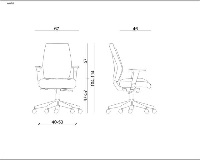 Wymiary Fotel ergonomiczny Unique Work 1009M