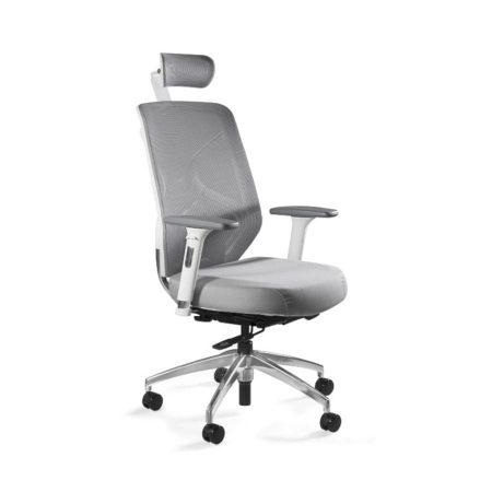 Fotel ergonomiczny Unique HERO Biały Stelaż, Siatka + Tapicerka Szara ZM-6661-W-BLH-8 z przodu