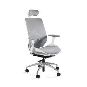 Fotel ergonomiczny Unique HERO Biały Stelaż Siatka ZM-6661-W-NWH-8 z przodu