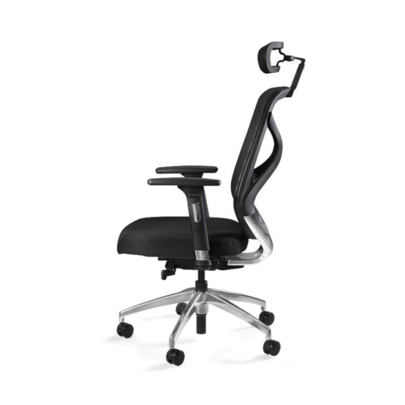 Fotel ergonomiczny Unique HERO Czarny Stelaż, Siatka + Tapicerka Czarna ZM-6661-B-BLH-4 z boku