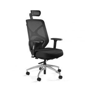 Fotel ergonomiczny Unique HERO Czarny Stelaż, Siatka + Tapicerka Czarna ZM-6661-B-BLH-4 z przodu