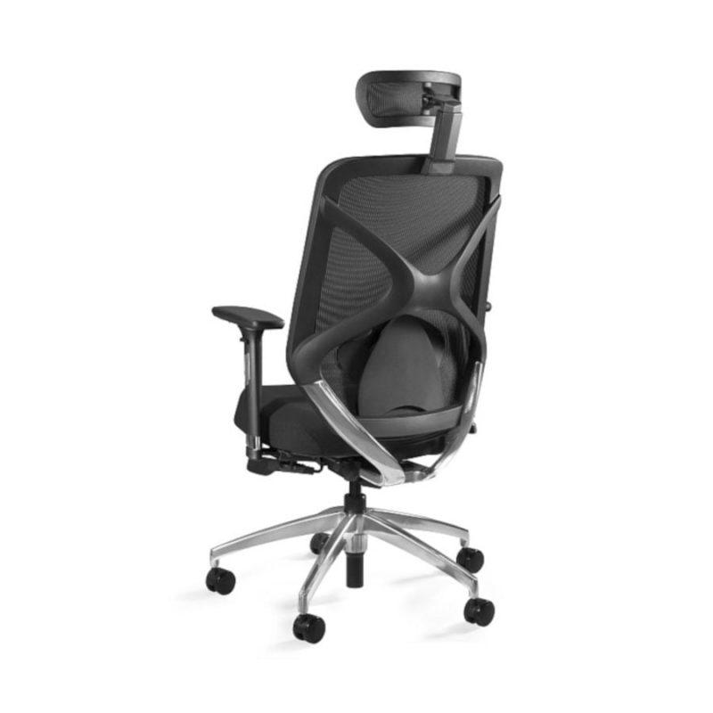 Fotel ergonomiczny Unique HERO Czarny Stelaż, Siatka + Tapicerka Czarna ZM-6661-B-BLH-4 z tył