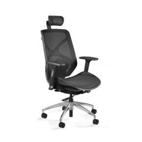 Fotel ergonomiczny Unique HERO Czarny Stelaż Siatka ZM-6661-B-NWH-4 z przodu