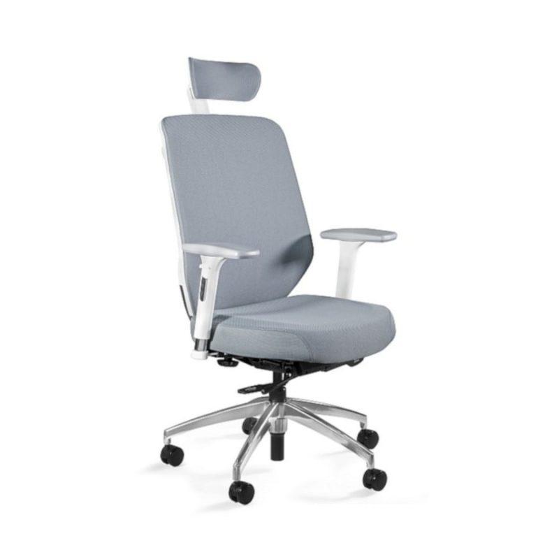 Fotel ergonomiczny Unique HERO Czarny Stelaż Tkanina SM Grey ZM-6661-W-SM-2315 z przodu