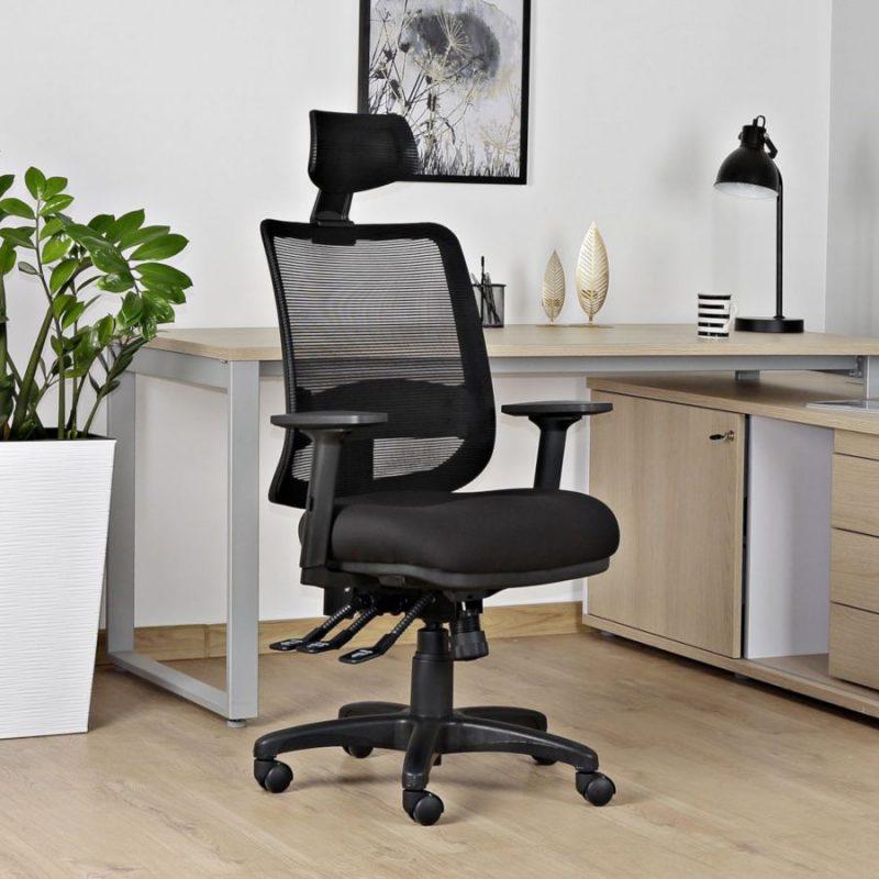 Fotel ergonomiczny Unique SAGA PLUS czarna siatka 1219-B-SM01 wizualizacja