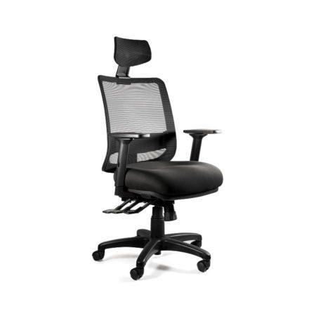 Fotel ergonomiczny Unique SAGA PLUS czarna siatka 1219-B-SM01 z przodu