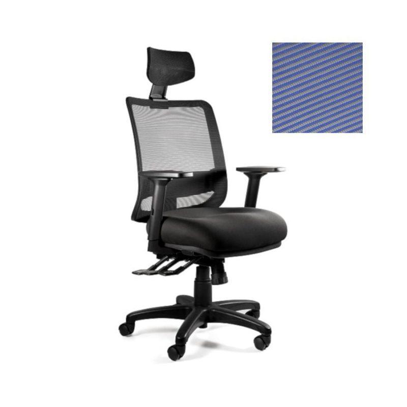 Fotel ergonomiczny Unique SAGA PLUS niebieska siatka 1219-B-SM03 z przodu