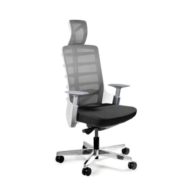 Fotel ergonomiczny Unique Spinelly biały stelaż siatka W-999-W z przodu