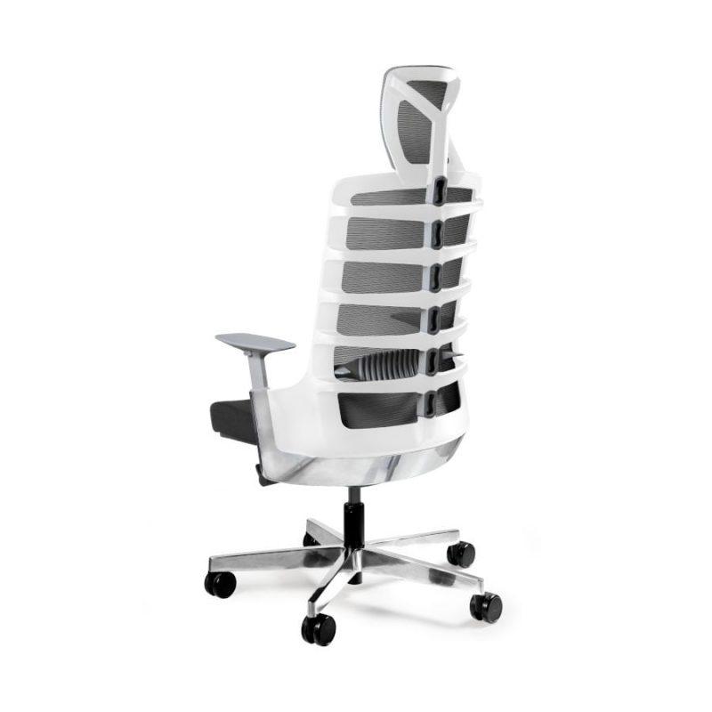 Fotel ergonomiczny Unique Spinelly biały stelaż siatka W-999-W z tył