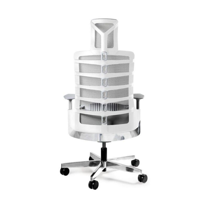 Fotel ergonomiczny Unique Spinelly biały stelaż siatka W-999-W oparcie z tył