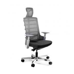 Fotel ergonomiczny Unique Spinelly czarny stelaż siatka W-999-B z przodu
