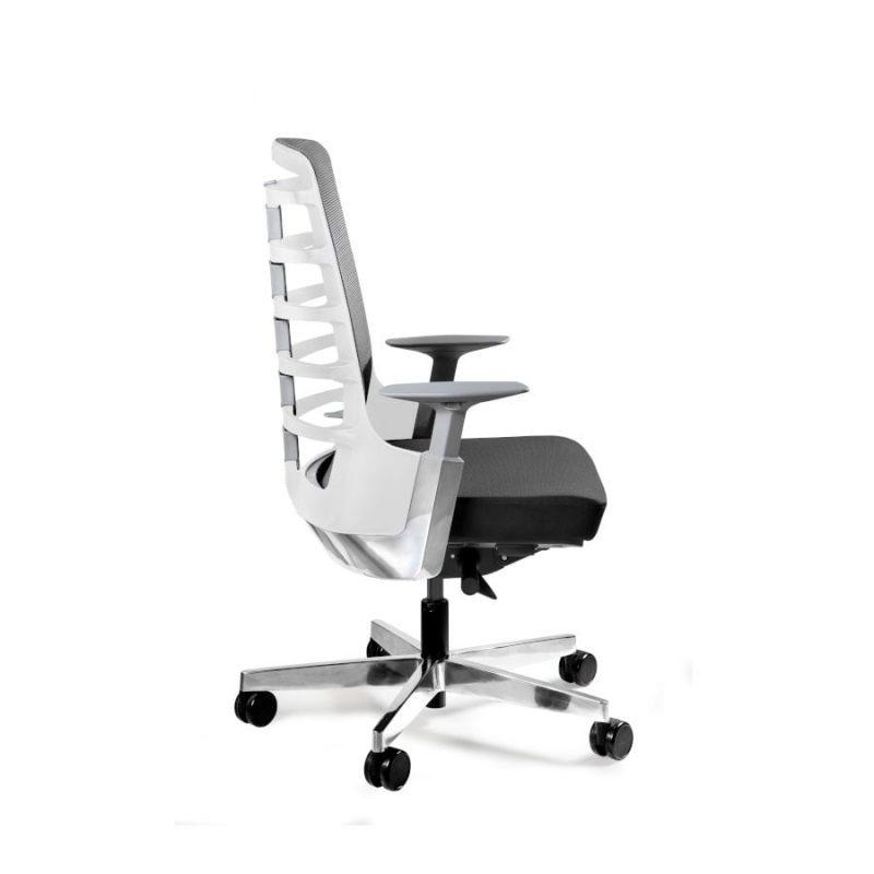 Fotel ergonomiczny Unique Spinelly M biały stelaż siatka W-998-W z boku