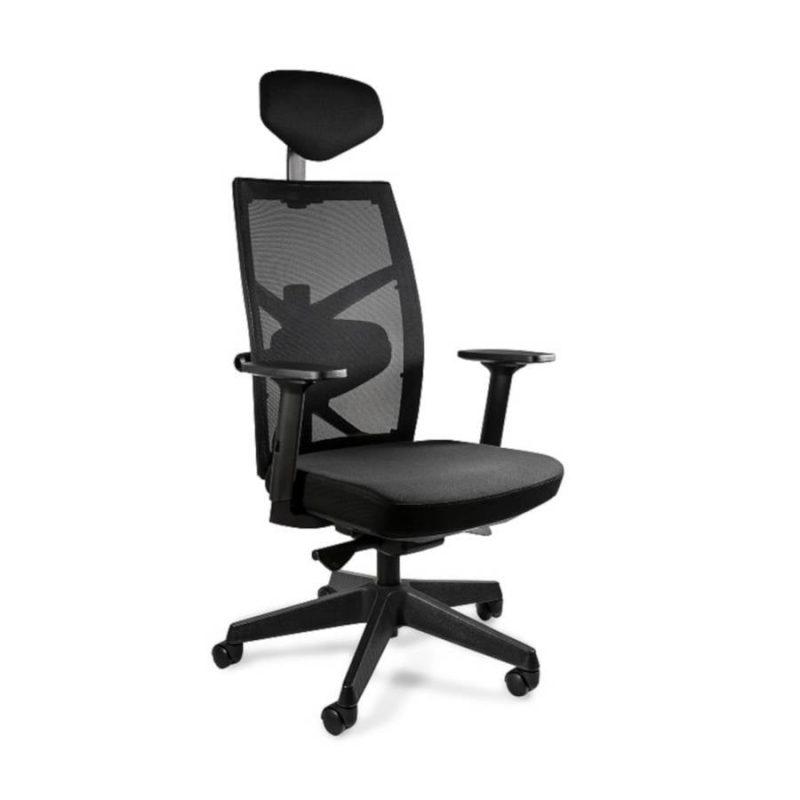 Fotel ergonomiczny Unique TUNE 139Y Czarny Stelaż Tkanina SM przód
