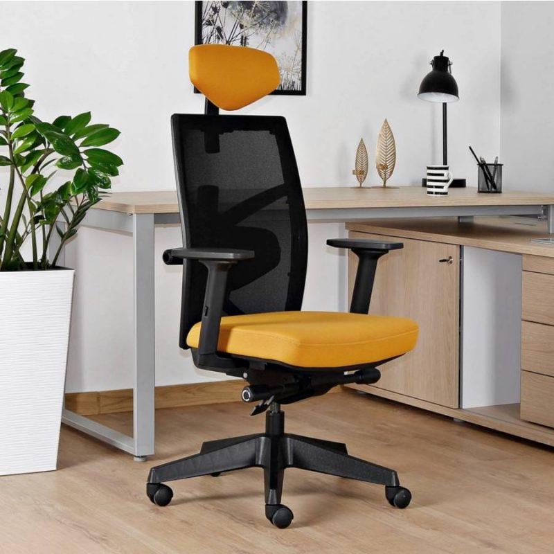 Fotel ergonomiczny Unique TUNE 139Y Czarny Stelaż Tkanina SM wizualizacja przód