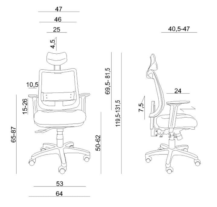 Wymiary fotela ergonomicznego Unique Saga Plus 1219-B - specyfikacja techniczna
