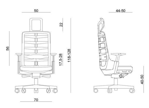 Wymiary fotela ergonomicznego Unique Spinelly Biały z zagłówkiem W-999-W
