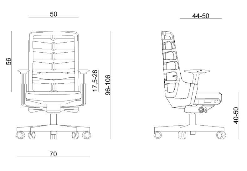 Wymiary fotela ergonomicznego Unique Spinelly M Biały W-998-W