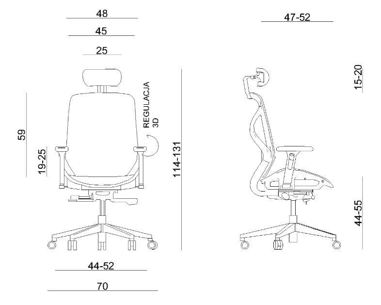 Wymiary fotela ergonomicznego Unique HERO Bialy Stelaż Siatka ZM-6661-W-NWH-8