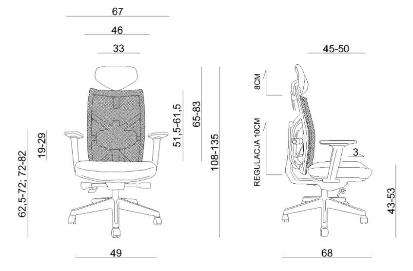 Wymiary fotela ergonomicznego Unique TUNE 139Y