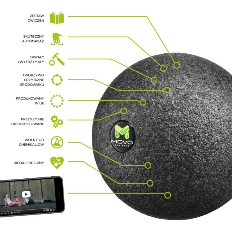 Roller piłka, kulka MOVO ® Ball Optimum - czarny, miękki