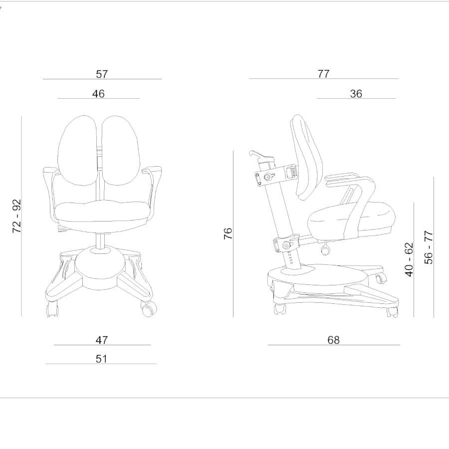 Wymiary krzesło ergonomiczne dla dziecka Unique Paddy Niebieskie NCX-09-7
