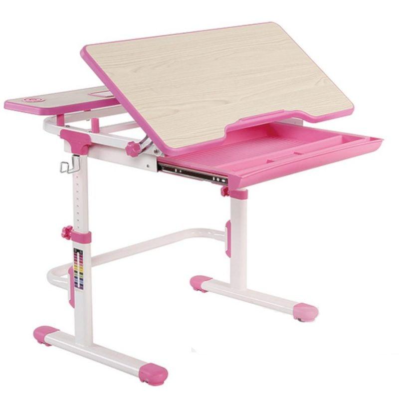 Biurko regulowane dla dziecka Fun Desk Lavoro L Pink pochylany blat