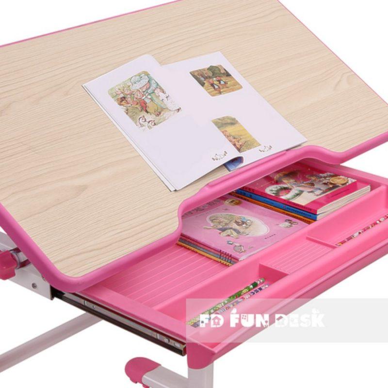 Biurko regulowane dla dziecka Fun Desk Lavoro L Pink wysuwana szuflada