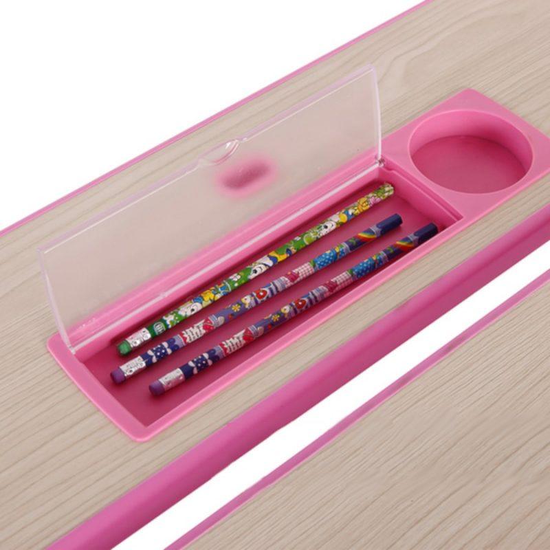 Biurko regulowane dla dziecka Fun Desk Lavoro L Pink przybornik