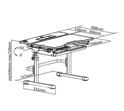 Wymiary biurka regulowanego dla dzieci Fun Desk Lavoro L