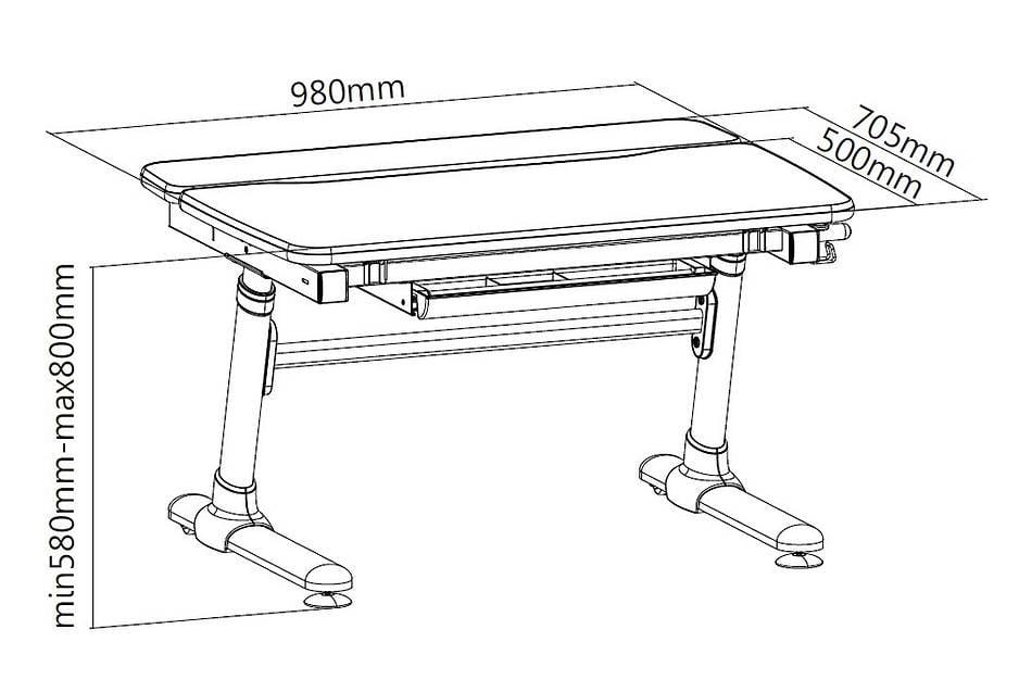 Wymiary biurka regulowanego dla dzieci Fun Desk Carezza Pink